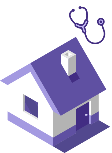 Three-dimensional home and doctor's stethoscope.