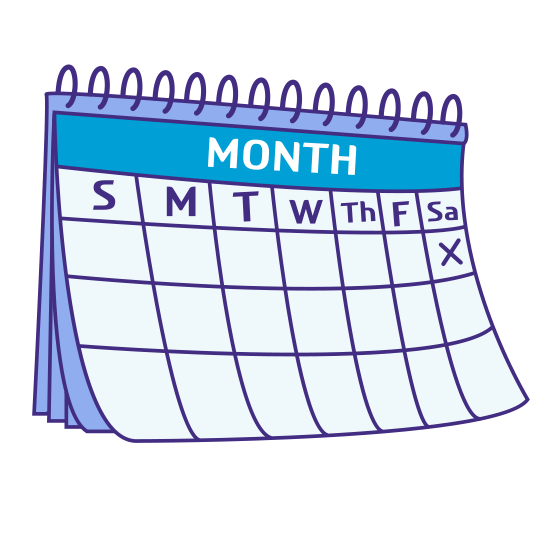 Blank monthly calendar with one day marked by an 'X.'