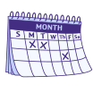 A blank monthly calendar with three days marked by 'X's' to represent fewer than three bowel movements in one week.