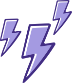 An icon of three lightning bolts striking to represent nerve sensitivity in the intestines.